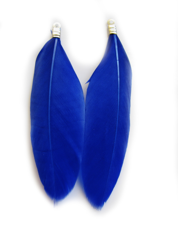 2 anh nger echte feder ca 6 6 7 3 cm dunkelblau perlen basteln indianer blau. Black Bedroom Furniture Sets. Home Design Ideas